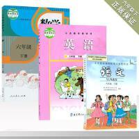 六年级下册语文数学英语书全套 人教版六年级下册语文数学书+教育科学教科版六年级下册英语书 小学教材教科书课本