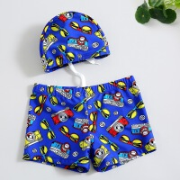 儿童泳裤 男童小宝宝中大童儿童分体泳衣带帽温泉游泳衣