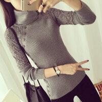 秋冬款女装韩版长袖毛衣蕾丝高领针织套头打底衫女xx 均码(适合75-145斤)