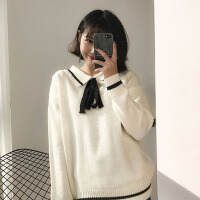 秋装新款百搭系带翻领毛衣甜美学院风韩版POLO领上衣女学生潮