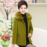 中老年女装秋冬加厚毛领呢子大衣40岁50中年妈妈冬装短款毛呢外套
