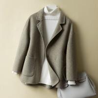 2018秋冬新款羊毛大衣女短款��松小��子零仿羊�q西�b�I�p面毛呢外套