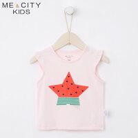 【1件2.5折到手价:24.8】米喜迪mecity童装夏新款女婴童西瓜星星印花针织无袖恤
