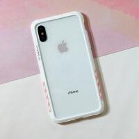 太乐芬 iphone Xs Max手机壳苹果X条纹工业风8plus防摔硅胶XR边框 苹果xs max黑框黄条纹6.5寸