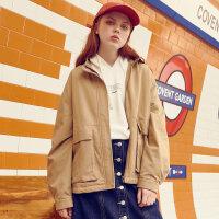 【1件3折价:101.7,可叠券】美特斯邦威外套女秋季纯色舒适休闲翻领棉布女士短外套
