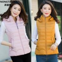 妈妈装新款韩版修身短款秋冬40岁女马甲可脱卸帽外套坎肩羽绒棉衣