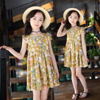 女童连衣裙夏装新款儿童碎花公主裙女孩衣服洋气棉麻裙子童装