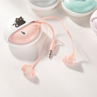 韩版可爱创意女生猫咪入耳式手机线控耳机通用 带耳机盒带麦