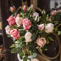 美式复古仿真花玫瑰花束客厅摆设假花摆件绢花插花装饰花艺高品质l2k