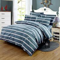 床上四件套棉棉网红简约欧式超柔条纹加厚被套床单双人1.8米 灰色 音乐达人