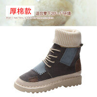 袜子鞋女冬学生百搭加绒厚底雪地棉靴网红短筒瘦瘦靴平底