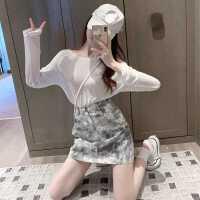 扎染半身裙女高腰短裙秋季2020新款百搭裙子�@瘦A字裙�凸虐�臀裙