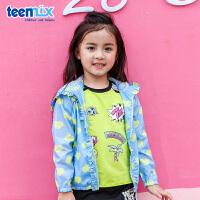 天美意teenmix童装女童风衣2018春季新款儿童透气外套儿童衣服休闲户外衣 CZ0001
