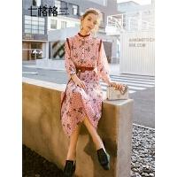 七格格连衣裙女春装2019新款韩版高腰中长款裙子荷叶边修身雪纺裙