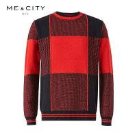【2件2.5折到手价:100】MECITY男装2018冬季新款英伦格纹羊毛套头毛衣保暖毛衫