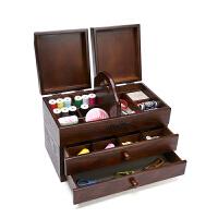针线盒 大号收纳箱桌面物品家用手工便携储物盒抽屉式雕花木质多功能化妆品工具盒套装 仿古色