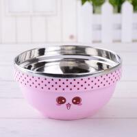 饭米粒304不锈钢碗艾米爱心碗不锈钢彩色双层隔热饭碗儿童饭碗13cm
