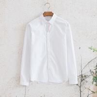 2018春装新款英伦风简约纯色打底衫衬衣韩版青年潮男修身长袖衬衫