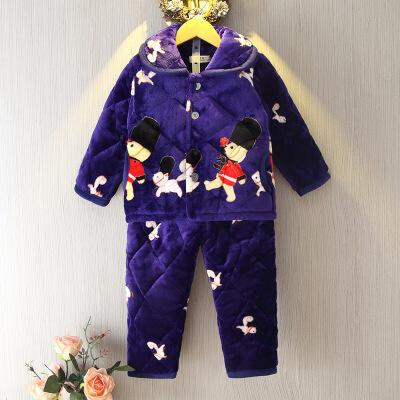冬季儿童宝宝小孩加厚夹棉保暖法兰绒睡衣家居服男女童珊瑚绒套装 发货周期:一般在付款后2-90天左右发货,具体发货时间请以与客服协商的时间为准