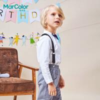 【2件2折】拉巴拉旗下MarColor马卡乐2019春新品男童英伦领结装饰立领衬衫