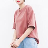 夏季宽松圆领新款纯色T恤女士短袖学生韩版纯棉打底衫上衣