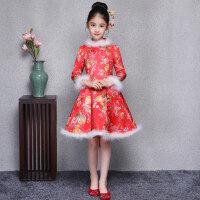 女童旗袍唐装长袖加厚中国风演出儿童小女孩礼服新年装童装秋冬季 红色