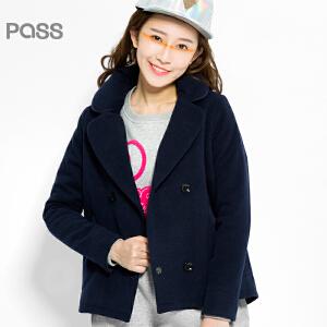 PASS原创潮牌冬装 时尚百搭双排扣枕头领保暖毛呢外套女6541244008