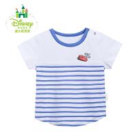 迪士尼Disney婴儿衣服夏季短袖上衣休闲条纹T恤清凉透气短t162S797