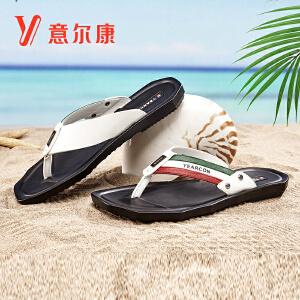 【满减到手价:128】意尔康男鞋时尚沙滩拖鞋夏季凉鞋男士人字拖