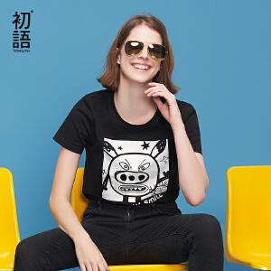 【下单减100 商场同款】初语2018夏季新款 圆领卡通趣味印花修身黑色短袖T恤女