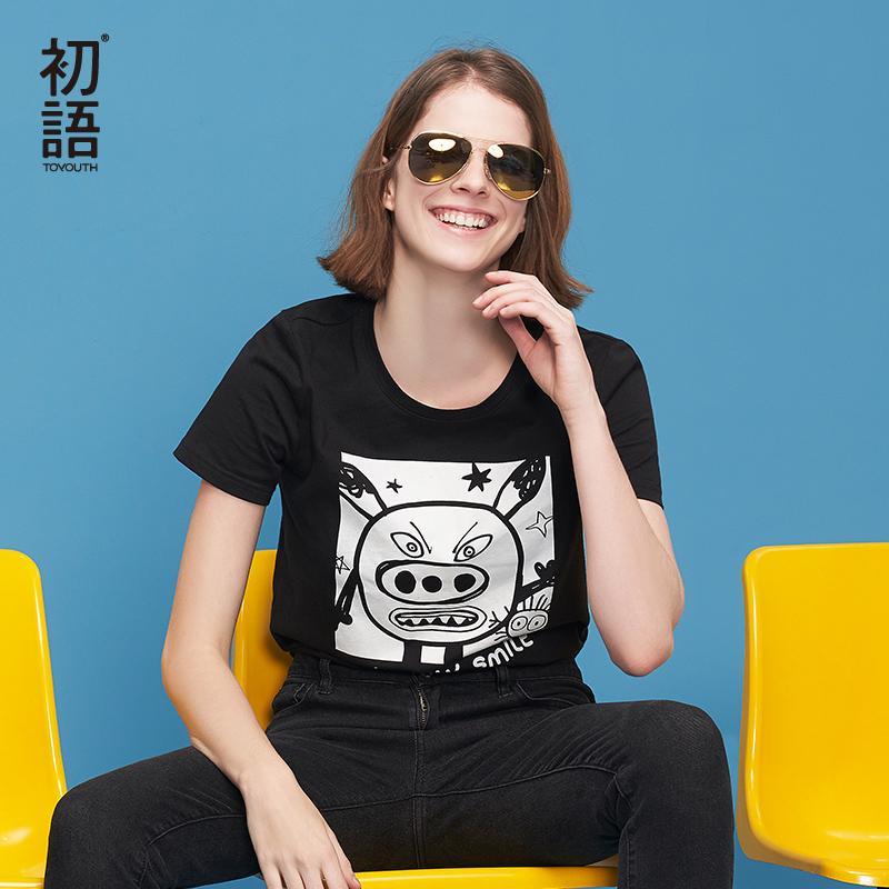 初语2018夏季新款 圆领卡通趣味印花修身黑色短袖T恤女
