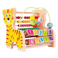 多功能木质绕珠计算架幼儿童早教学习宝宝串珠积木玩具1-3岁