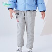 【2件3折到手价:49.5】迪士尼Disney童装 男童保暖加绒长裤冬季新品米奇印花休闲裤抓绒裤子 194K927