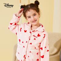 618【2件4折:95.6元】迪士尼女童加绒家居服套装2020秋冬宝宝儿童法兰绒睡衣裤子