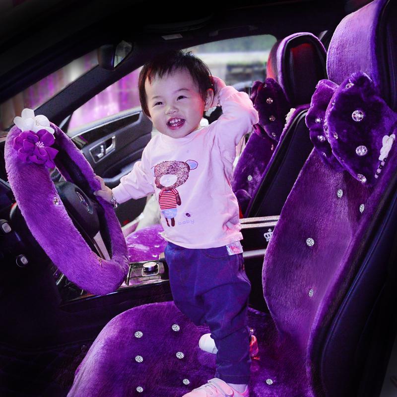 冬季羊毛汽车座垫短毛绒加热通用女士汽车用品五件套车垫子车坐垫