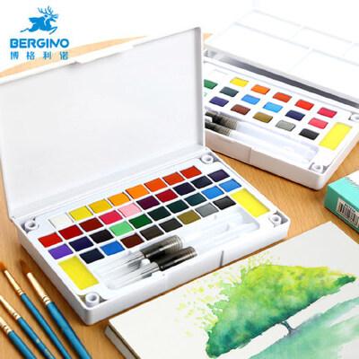 博格利诺固体水彩颜料学生画画用留白液成人绘画工具套装分装36色水彩画笔全套初学者手绘透明画画水粉饼颜料