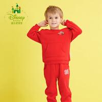 迪士尼Disney 童装男童套装新款春秋休闲宝宝衣服保暖长袖卫衣运动服173T702