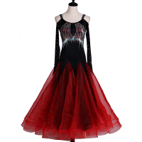 露肩长袖摩登舞裙新款国标舞大摆比赛表演连衣裙交谊舞服装