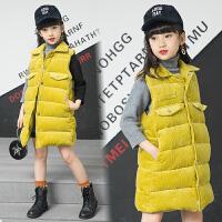 女童马甲秋冬装新款中大儿童韩版外套女孩加厚中长款马甲背心