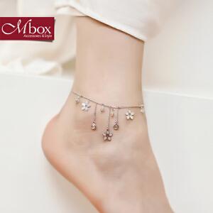 新年礼物Mbox脚链 女款韩国版原创采用施华洛世奇元素水晶流苏脚链 缅栀密