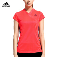 adidas阿迪达斯羽毛球服运动短袖T恤跑步训练女V领短袖