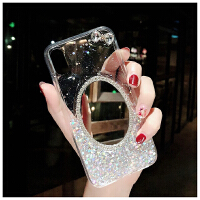 苹果x手机壳潮牌iphone7plus带镜子时尚8p明星同款6s水钻奢华女款xs软包边全闪粉个性创意 亮片银蝴蝶结 送