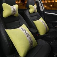 2019新款汽车头枕抱枕四件套靠垫腰靠车用透气通用靠枕护颈枕套装