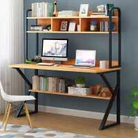 简易电脑桌台式家用办公桌带书架书桌组合简约双人卧室学生写字台