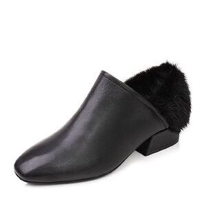 Tata/他她2017秋黑色牛皮拼接貂毛皮时尚方跟女皮鞋MW225CM7