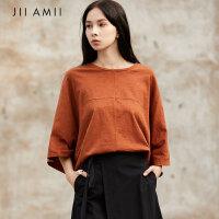 JII AMII I设计师品牌2018夏新款纯棉宽松港风休闲圆领显瘦T恤女