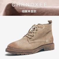 冬季复古粗跟马丁靴英伦风女靴系带低跟平底女短靴踝靴及裸靴