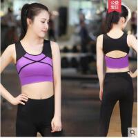 拼接防震胸衣短款露脐跑步运动背心紧身速干带胸垫瑜伽服上衣时尚性感