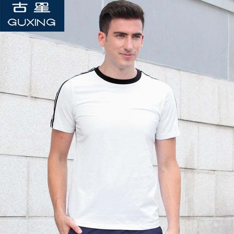 古星夏季新款男士运动短袖T恤三条杠圆领套头打底衫休闲半袖上衣