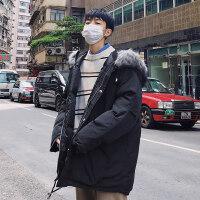 毛领工装外套男加肥加大码冬季港风潮牌男青年学生棉衣袄